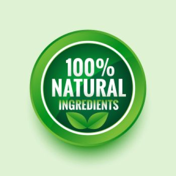 pure natural ingredients green label with leaves