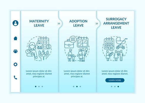 Maternity leave options onboarding vector template