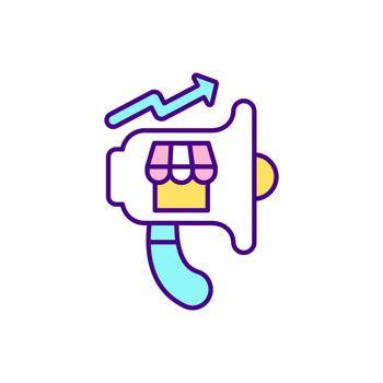 Online marketplace promotion RGB color icon