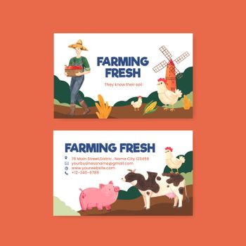 Name card template with national farmers day concept,watercolor style