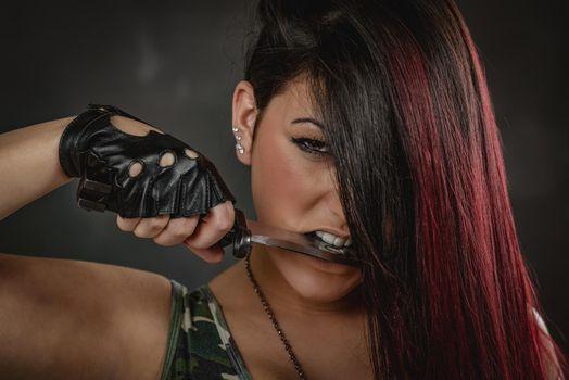 Furious Army girl