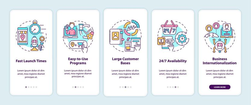 Online marketplace benefits onboarding mobile app page screen