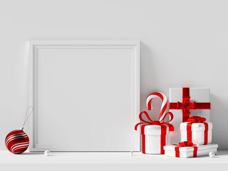 Frame mockup with Christmas ornaments, 3d illustration