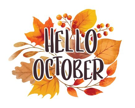 Hello october with ornate of leaves flower background. Autumn october hand drawn lettering template design.