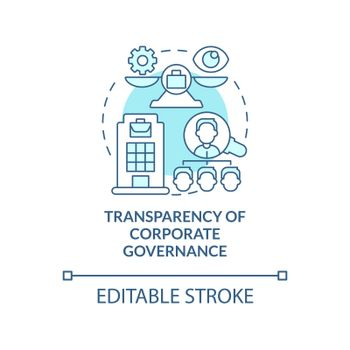 Transparency of corporate governance blue concept icon