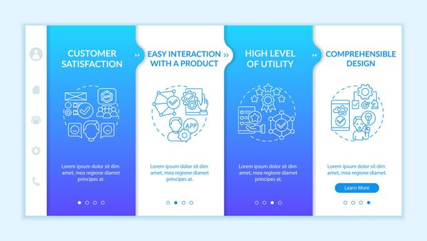 Usage assessment onboarding vector template