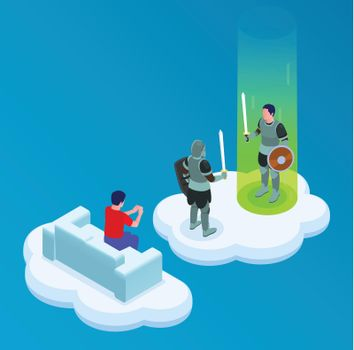 Cloud Gaming Isometric Concept
