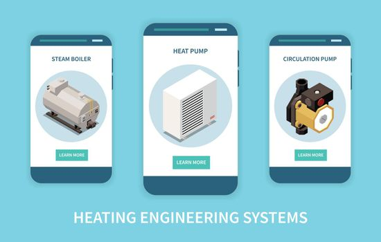 Heating System Banners Set