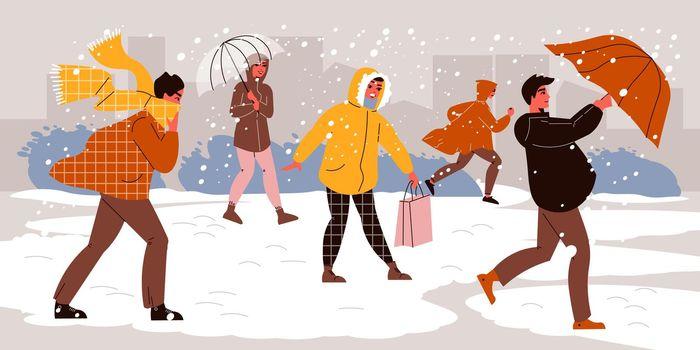 Umbrellas Under Snow Composition