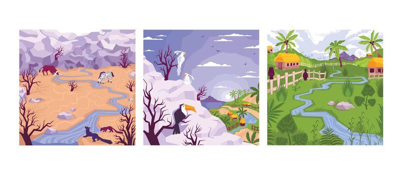 Tropical Village Landscapes Set