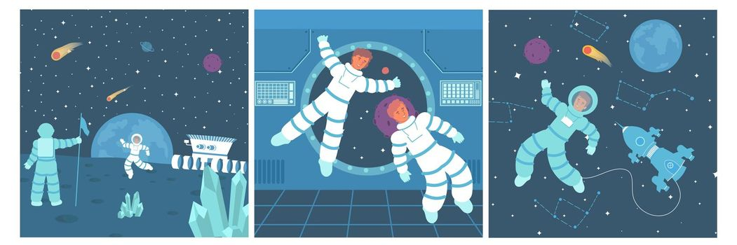 Astronaut Square Compositions Set
