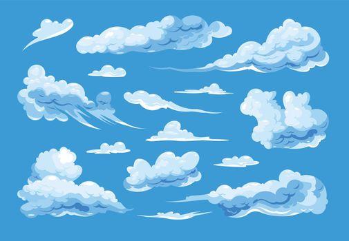 Sky Clouds Set On Blue Background