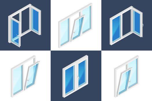 Windows Installation Isometric Design Concept