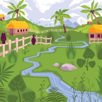 Exotic Village Scenery Composition