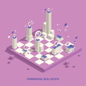 Real Estate Isometric Composition