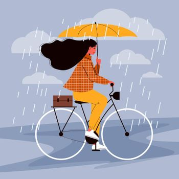 Bicycle Ride Rain Composition
