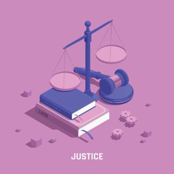 Law Justice Isometric Colored Composition