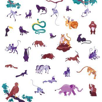 Jungle Animals Icon Set
