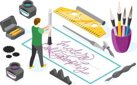 Calligraphy Hobby Isometric Composition