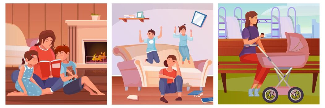 Motherhood Three Flat Illustrations