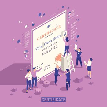 Branding Promotion Isometric Composition