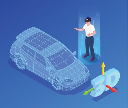 Car Designer Profession Isometric Illustration