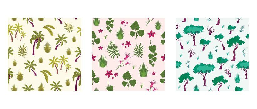 Rainforest Plants Square Patterns