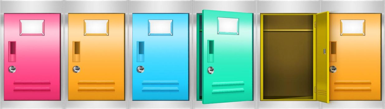 Metal locker cabinet with colored compartments