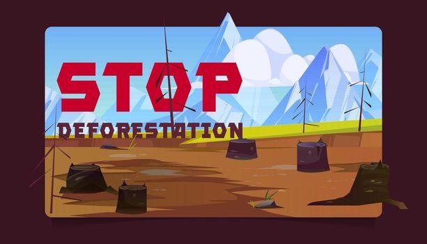 Stop deforestation cartoon banner, tree stumps