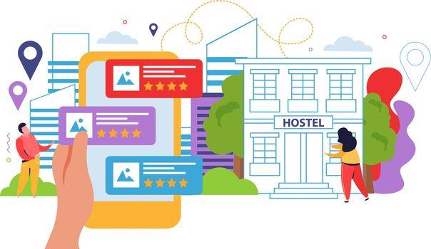 Hostel And Tourists Flat Design Concept