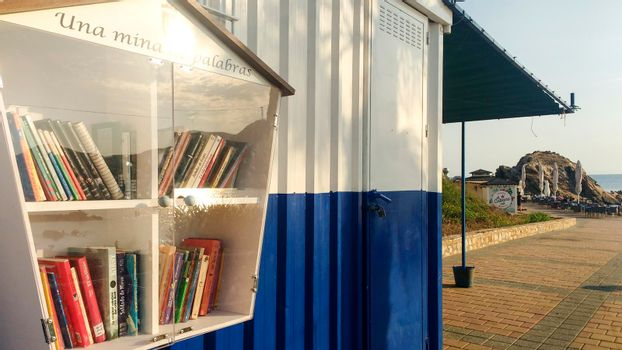 Street library available to the public on the beach