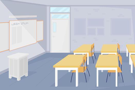 Nobody at school classroom flat color vector illustration