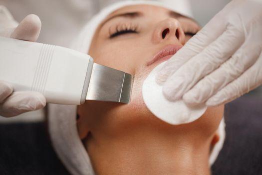 Ultrasonic Facial Cleansing In A Beauty Salon
