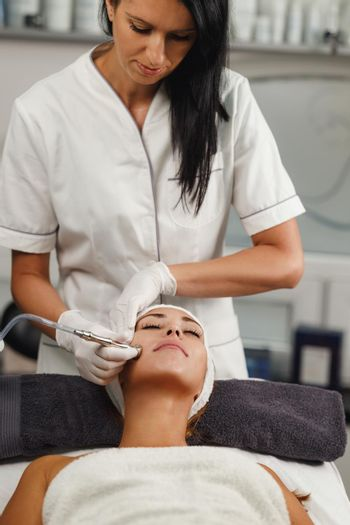 Microdermabrasion Treatment In A Beauty Salon