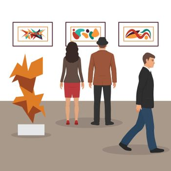 modern art gallery in museum interior creative contemporary paintings artworks or exhibits flat