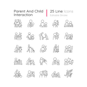 Parent and child interaction linear icons set