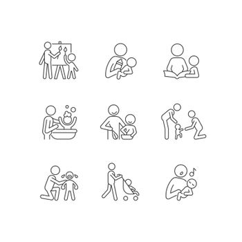 Responsible parenthood linear icons set