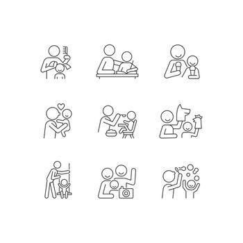 Bonding activity linear icons set