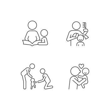 Family bonding time linear icons set