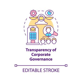 Transparency of corporate governance concept icon