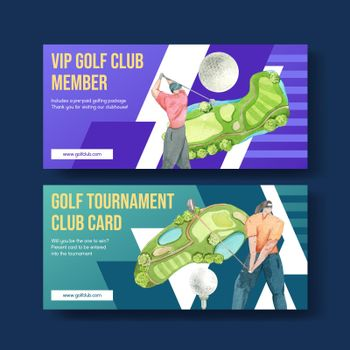 Club card template with golf lover concept,watercolor style