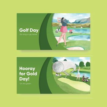Twitter template with golf lover concept,watercolor style