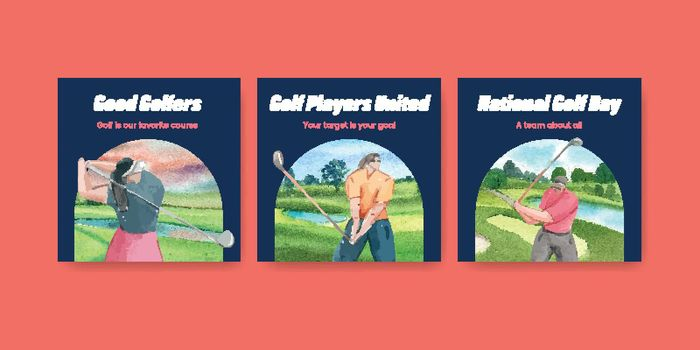 Banner template with golf lover concept,watercolor style