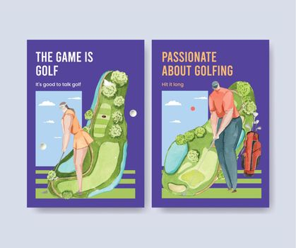 Poster template with golf lover concept,watercolor style