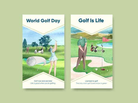 Instagram template with golf lover concept,watercolor style