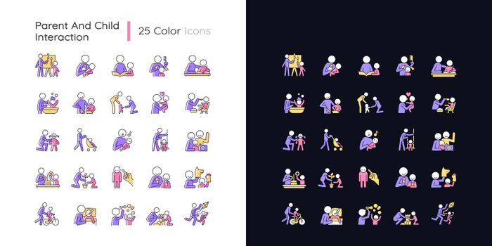 Parent and child interaction light and dark theme RGB color icons set