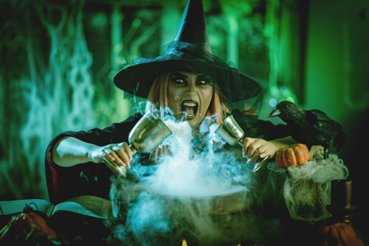 Pouring Magical Drink To The Cauldron