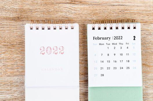 The mini February 2022 desk calendar.