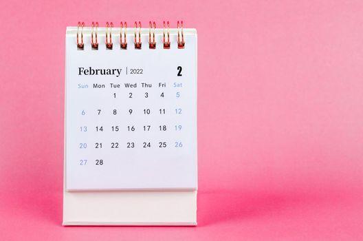 February desk calendar 2022 on pink