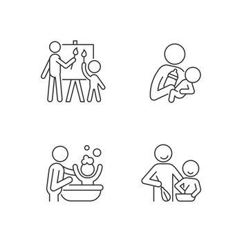 Parent-child bonding linear icons set